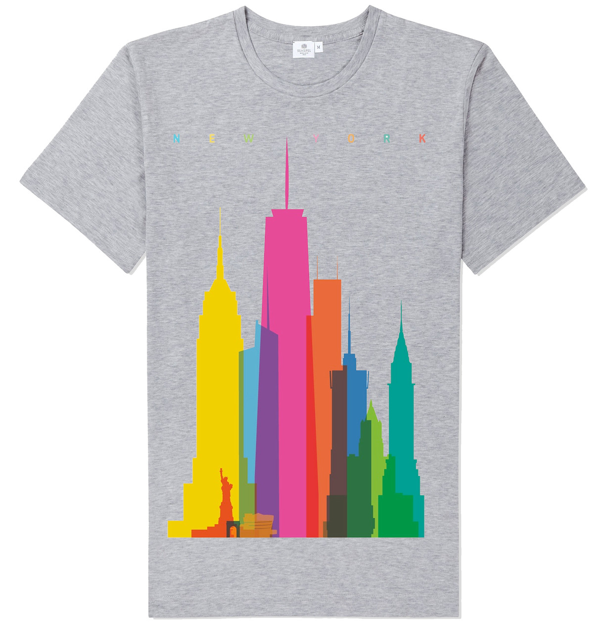 Colorful NY Skyline T-shirt -Grey photo