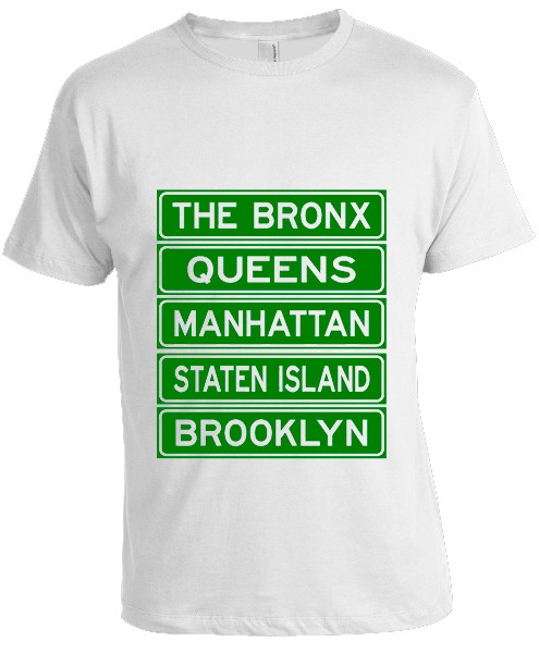 NY Street Sign T-shirt -White photo