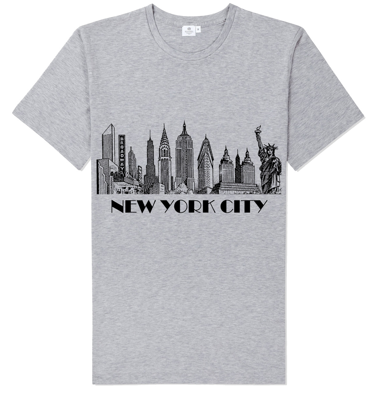 T Shirt Design York: New York City Skyline T-shirt -Grey