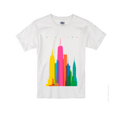 Kids Colorful NY Skyline T-shirt -White