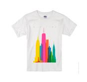 Kids Colorful NY Skyline T-shirt -White