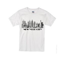 Kids NYC Skyline T-shirt -White Photo