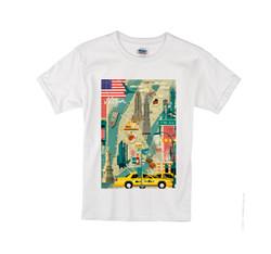 Kids Scenic NY T-shirt -White Photo