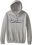 NY Yankees Shut Out Full Zip Hooded Fleece Sweatshirt -Grey