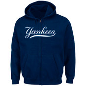 NY Yankees Shut Out Full Zip Hooded Fleece Sweatshirt -Navy