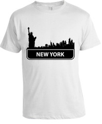 NY  Standard Skyline T-shirt -White Photo