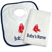 Boston Red Sox Personalized Bib and Burp Cloth Gift Set