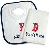 Boston Red Sox B Personalized Bib and Burp Cloth Gift Set