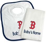 Boston Red Sox B Personalized Bib and Burp Cloth Gift Set