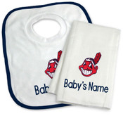 Cleveland Indians Personalized Bib and Burp Cloth Gift Set