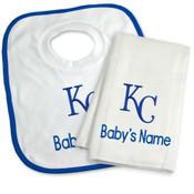 KC Royals Personalized Bib and Burp Cloth Gift Set