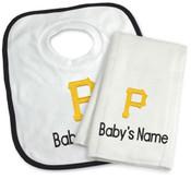 Pittsburgh Pirates Personalized Bib and Burp Cloth Gift Set