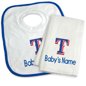 Texas Rangers Personalized Bib and Burp Cloth Gift Set
