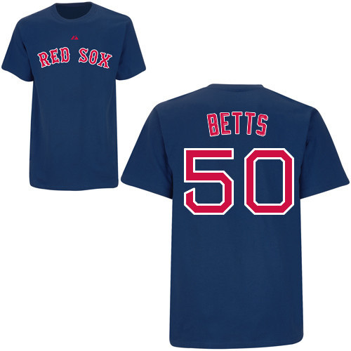 86f26a86a00 Mookie Betts T-Shirt - Navy Boston Red Sox Adult T-Shirt
