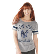 New York Yankees Double Play Navy Ladies T-Shirt- Front