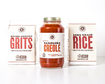 Sample Pack for Gourmet Shrimp Creole ... 1 Jar of Carolina Creole, 1 Bag of Carolina Stone Ground Grits, 1 Bag Carolina Long Grain Rice