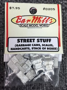 "Bar Mills 205 ""Street Stuff"" asst HO Scale detail castings"