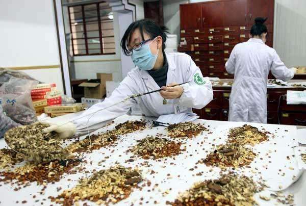 Chinese pharmacy prepares prescriptions