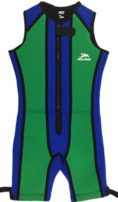 Front view of Blue and Green Arc Barefoot Suit