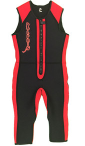 Front view of a Black and Red Arc Show suit.