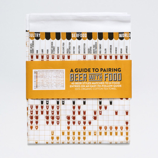 Guide to Pairing Beer With Food tea towel by Stuart Gardiner at Of Cabbages and Kings.