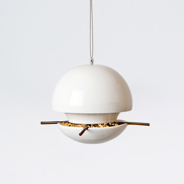 White Birdball Seed Feeder from Green&Blue at Of Cabbages and Kings.