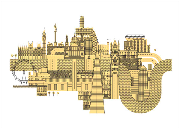 London screen print by John Devolle at Of Cabbages and Kings