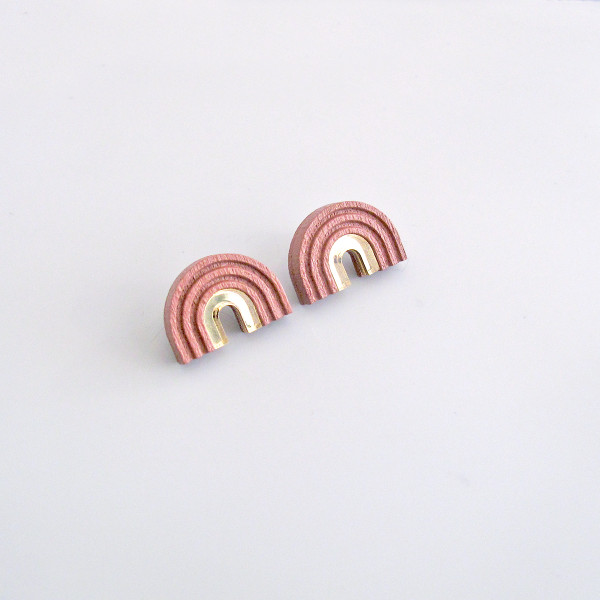 Arch Studs dusty pink by Wolf and Moon at Of Cabbages and Kings