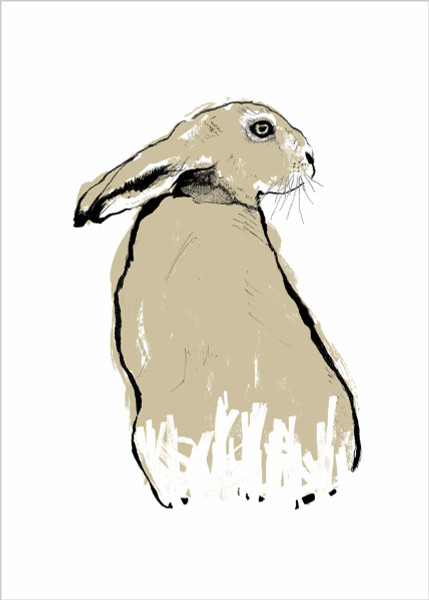 Gold Hare screen print by Tiff Howick available at Of Cabbages and Kings.