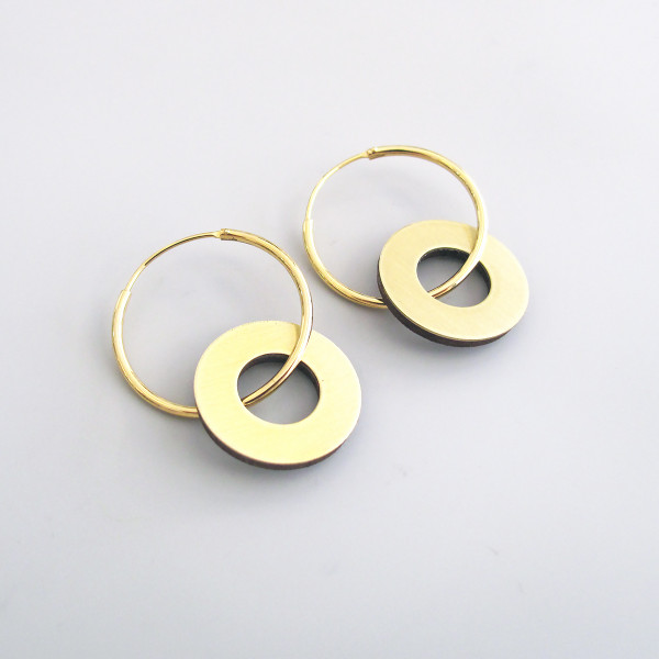 Disc Charm Hoop Earrings by Wolf and Moon available at Of Cabbages and Kings.