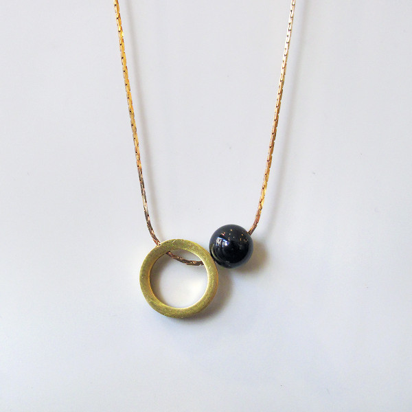 Ring + Sphere Necklace by Brass & Bold at of cabbages and kings