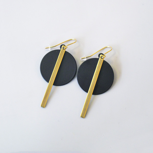 Deco Disc + Bar Earrings by Brass & Bold at of cabbages and kings
