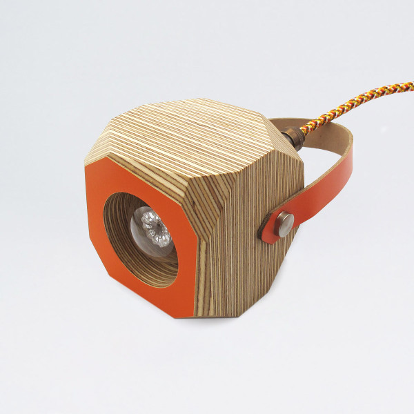 Wooden Geo Pendant Lamp - With Strap by Priormade at of cabbages and kings