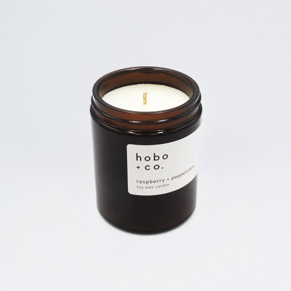 Raspberry + Peppercorn Scented Soy Wax Candle by Hobo + Co at Of Cabbages and Kings