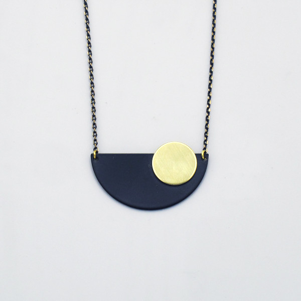 Epicycle Crescent + Disc Necklace by Brass & Bold at of cabbages and kings