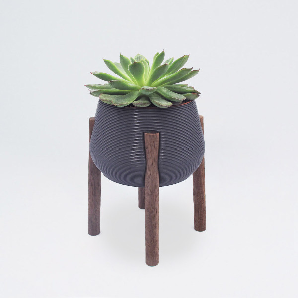 Dark Grey Tall Legged Planter by Studio Nilli
