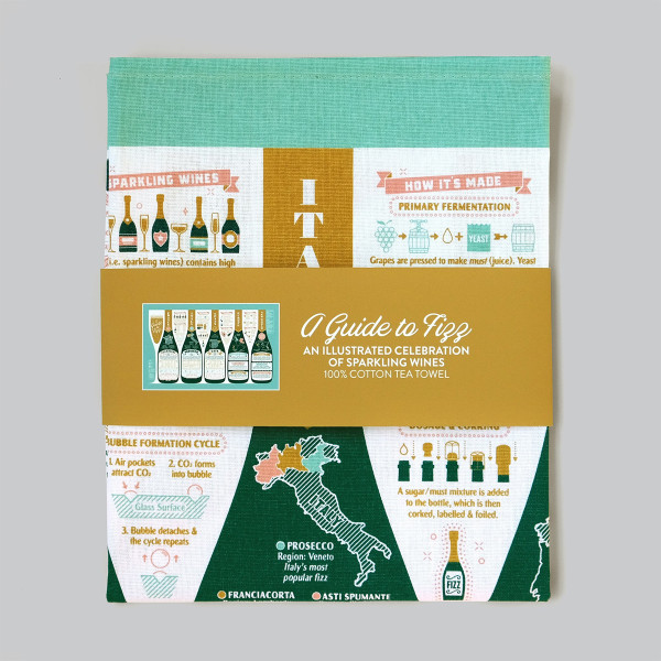 A Guide To Fizz Tea Towel by Stuart Gardiner at Of Cabbages and Kings