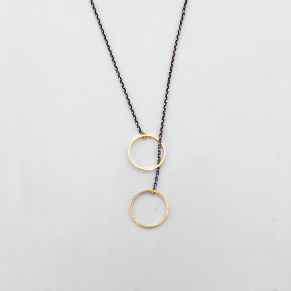 Gold Rings Necklace by Brass and Bold at Of Cabbages and Kings