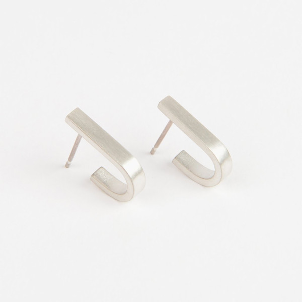 Silver Beton Loop earrings from the Béton range by Tom Pigeon, available at Of Cabbages & Kings.