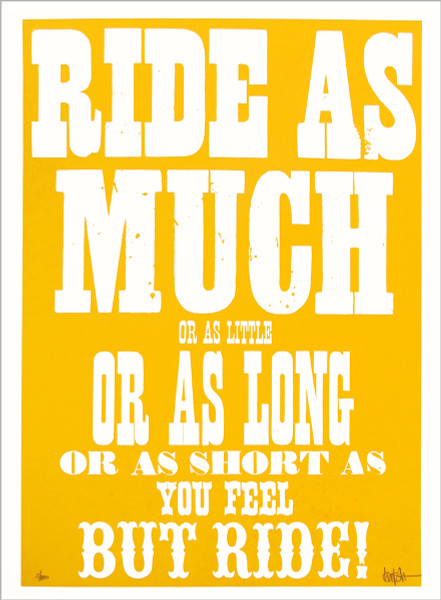 Ride (yellow) screen print by Dynamo works at Of Cabbages and Kings