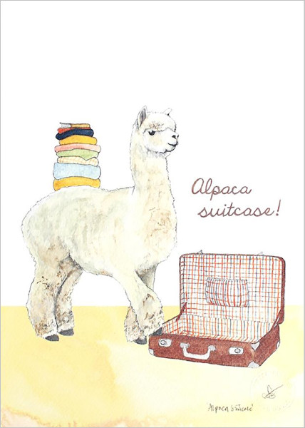 Alpaca Suitcase print by Mister Peebles at Of Cabbages and Kings.