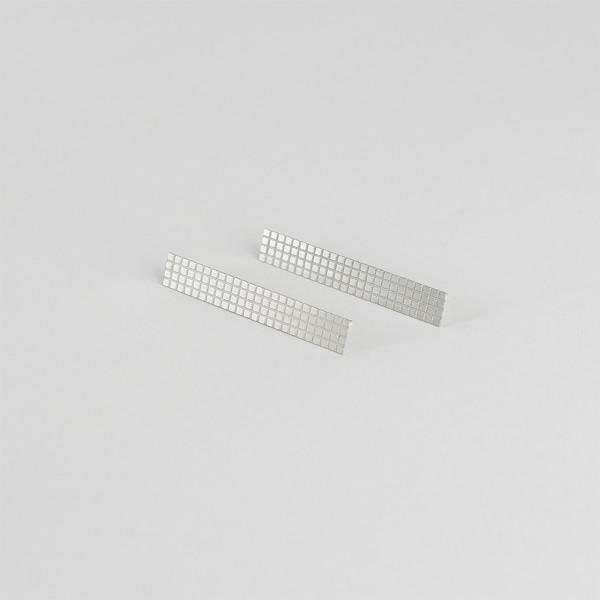Maxi Grid Earrings in Steel by Tom Pigeon at Of Cabbages and Kings