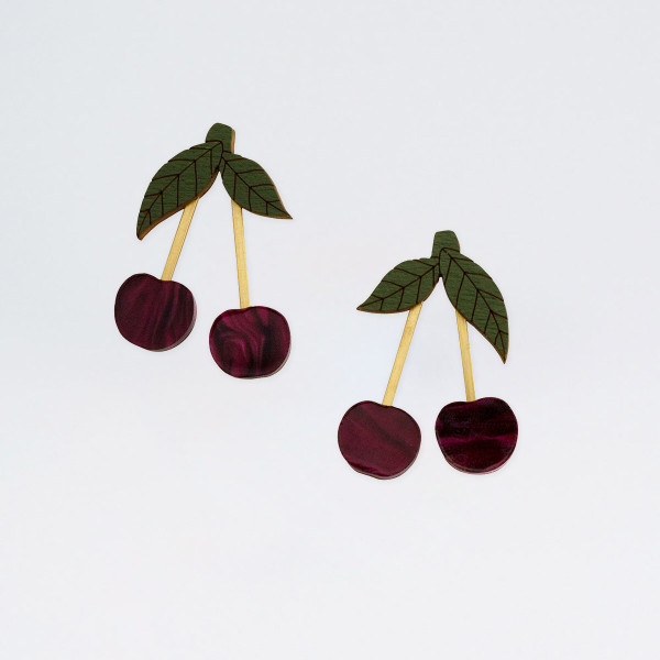 Mini Cherry Earrings by Wolf and Moon at Of Cabbages and Kings