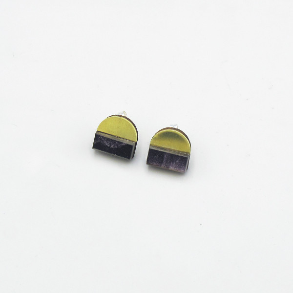 Duni Studs - Purple Marble by Chalk House Jewellery at Of Cabbages and Kings