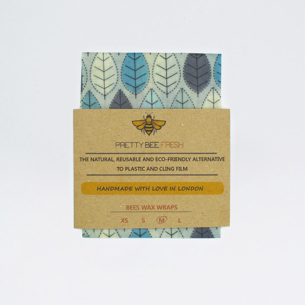 Beeswax Wrap - Blue Leaf Print by Pretty Bee Fresh at Of Cabbages and Kings
