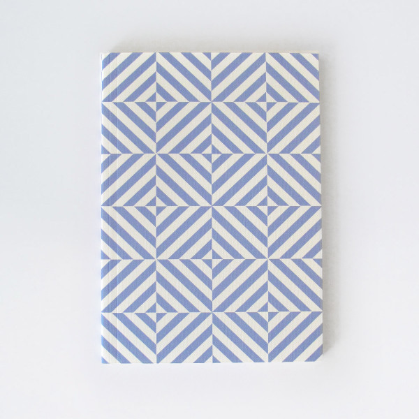 A5 Plain Layflat Notebook - Alma Print, Salvia Blue by Ola at of cabbages and kings