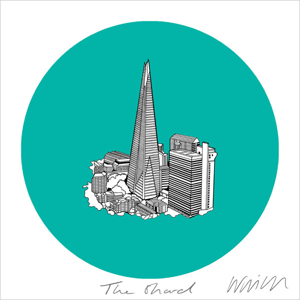 The Shard screen print by Will Clarke at Of Cabbage and Kings