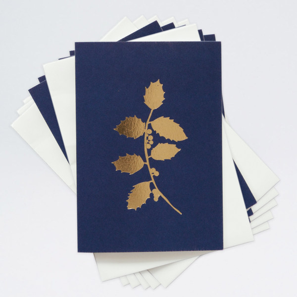 Pack of 6 Festive Cards - Holly by Ola at Of Cabbages and Kings