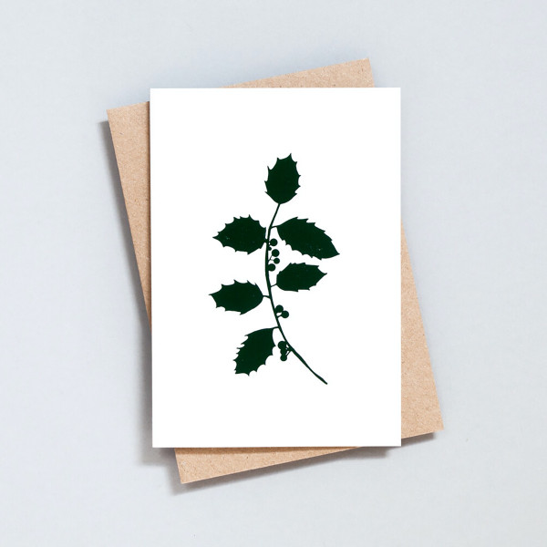 Single Holly Festive Card by Ola at Of Cabbages and Kings