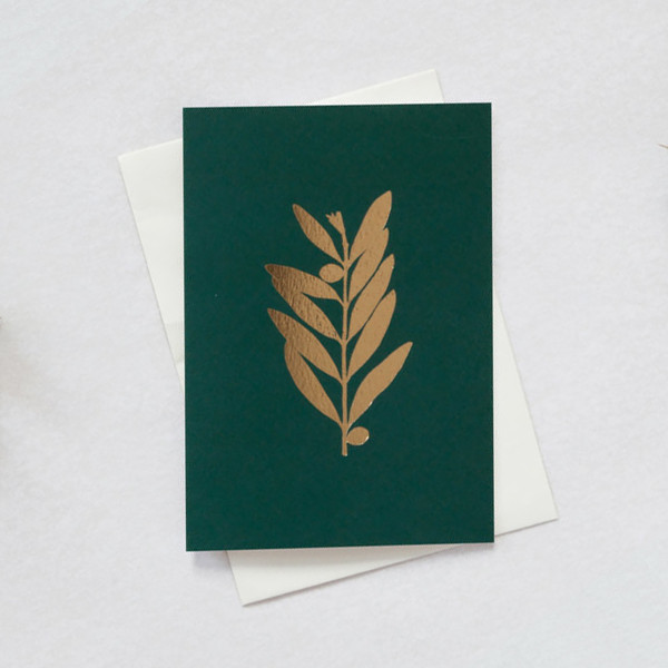 Single Olive Festive Card by Ola at Of Cabbages and Kings